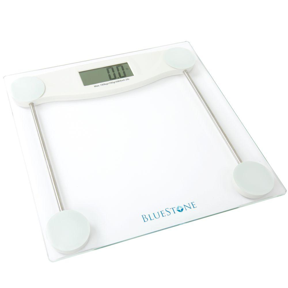 Bluestone Digital LCD Display Glass Bathroom Scale, White
