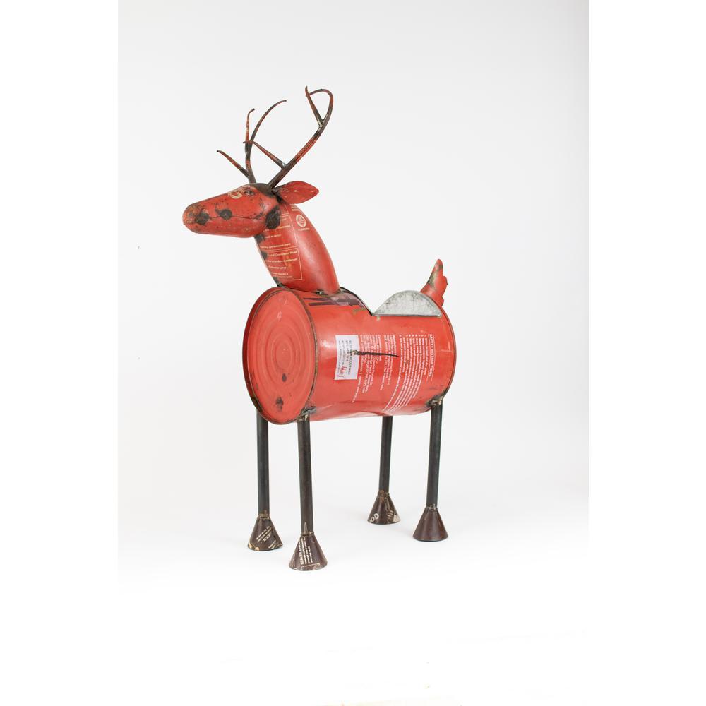 Deer Red Reclaimed Metal Barrel Cooler or Planter with Removable Tub