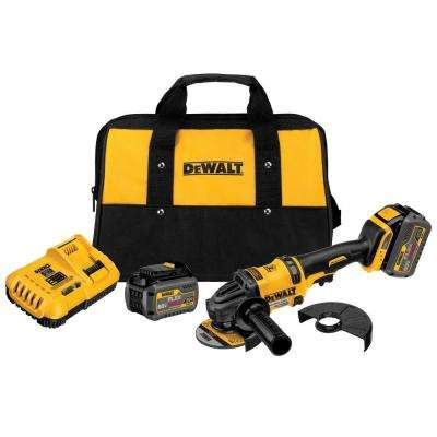 FLEXVOLT 60-Volt MAX Lithium-Ion Cordless Brushless 4-1/2 in. Angle Grinder with (2) Batteries 2Ah, Charger and Bag