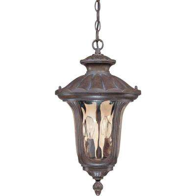 2-Light Outdoor Hanging Fruitwood Lantern with Amber Water Glass