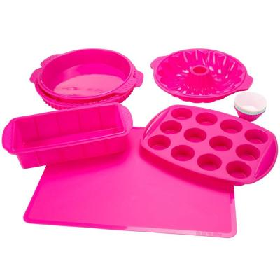 11 in. x 1.5 in. Silicone Bakeware Set in Pink (18-Piece)