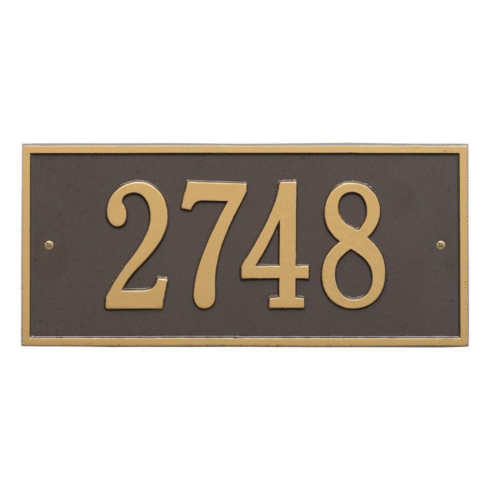 Hartford Rectangular Bronze/Gold Standard Wall 1-Line Address Plaque