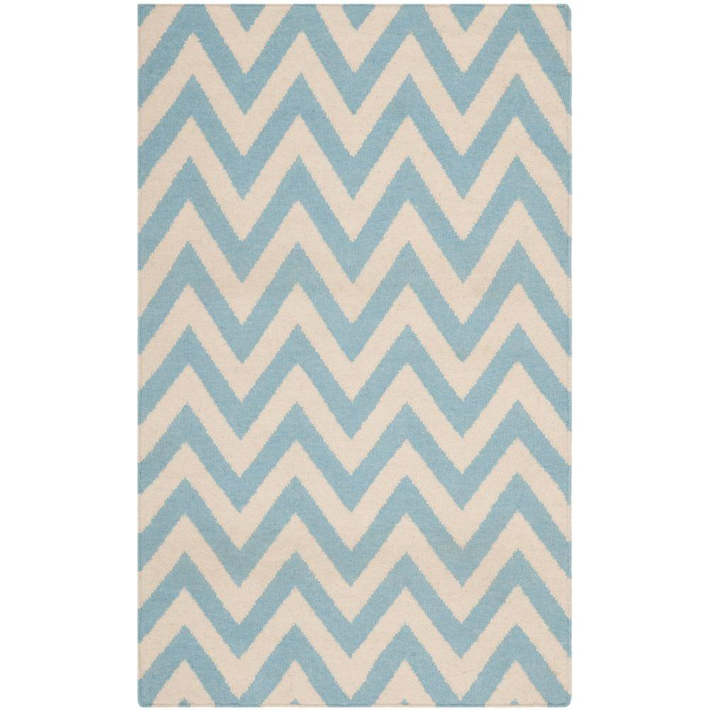 Dhurries Blue/Ivory 3 ft. x 5 ft. Area Rug