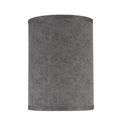 8 in. x 11 in. Grey Hardback Drum/Cylinder Lamp Shade
