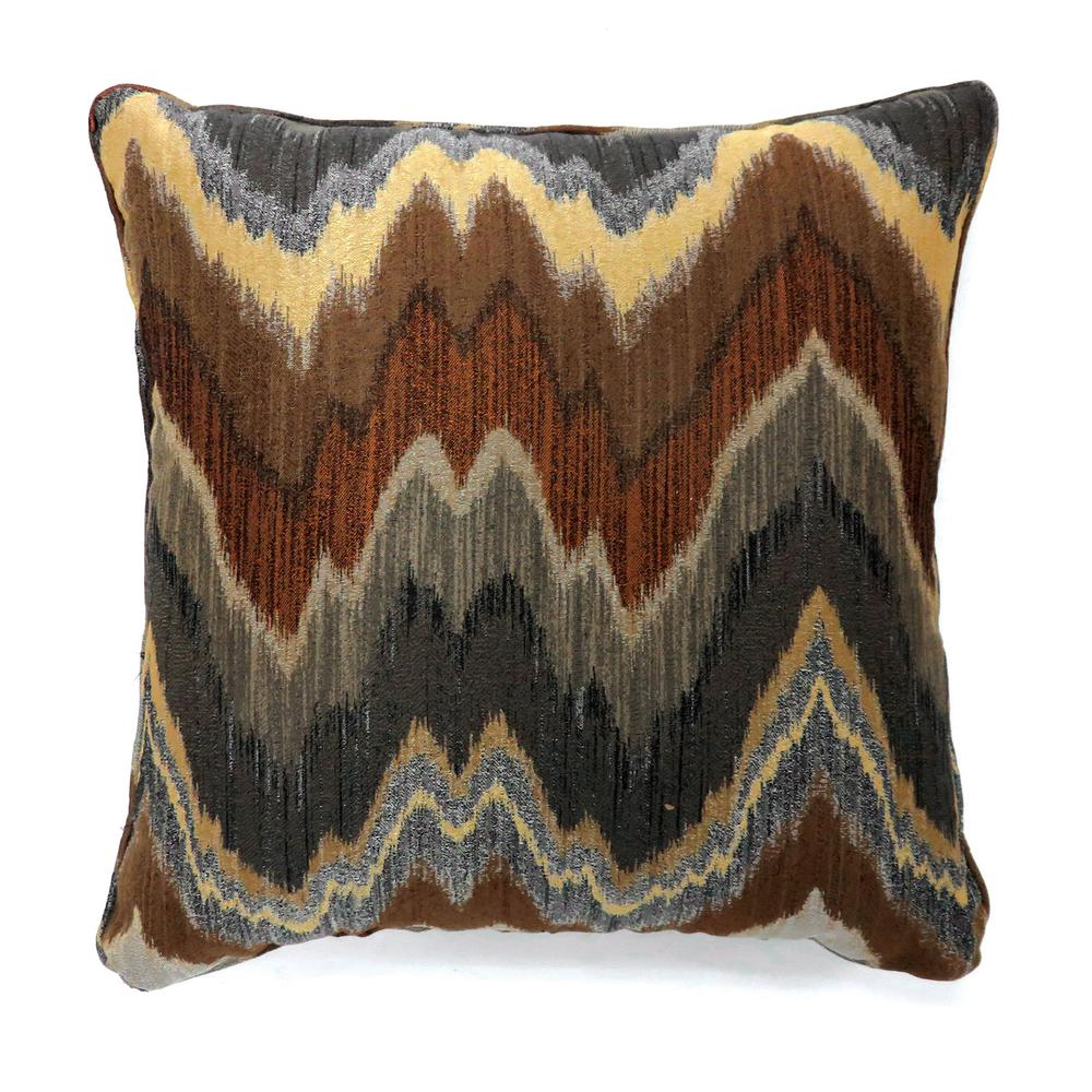Swoosh 18 in. Contemporary Throw Pillow in Blue and Brown (Pack of 2)