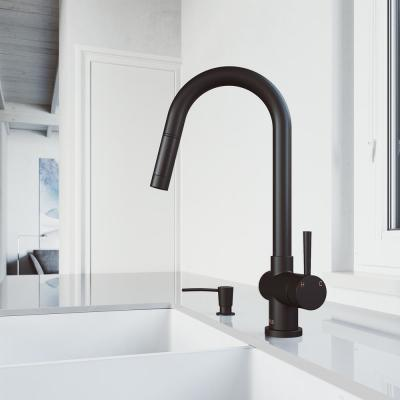 Gramercy Single-Handle Pull-Down Kitchen Faucet with Soap Dispenser in Matte Black