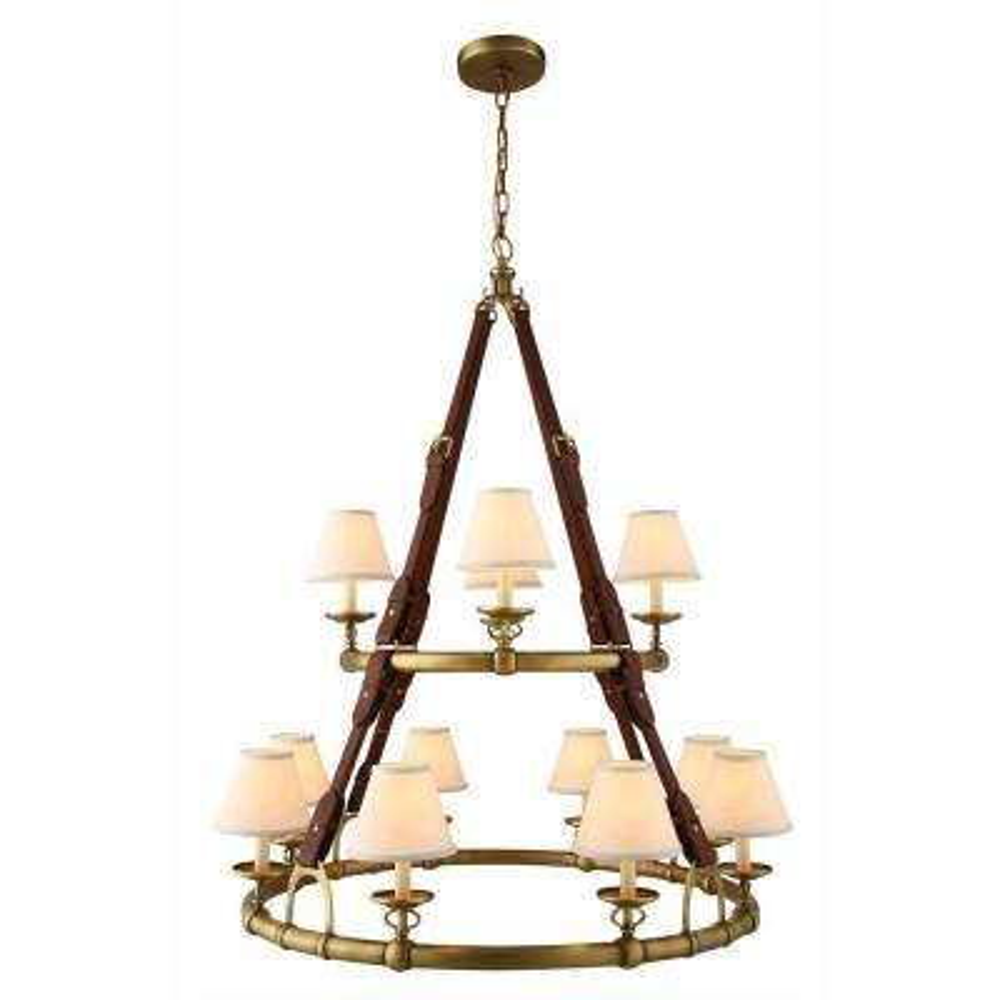Cascade 12-Light Burnished Brass Pendant Lamp