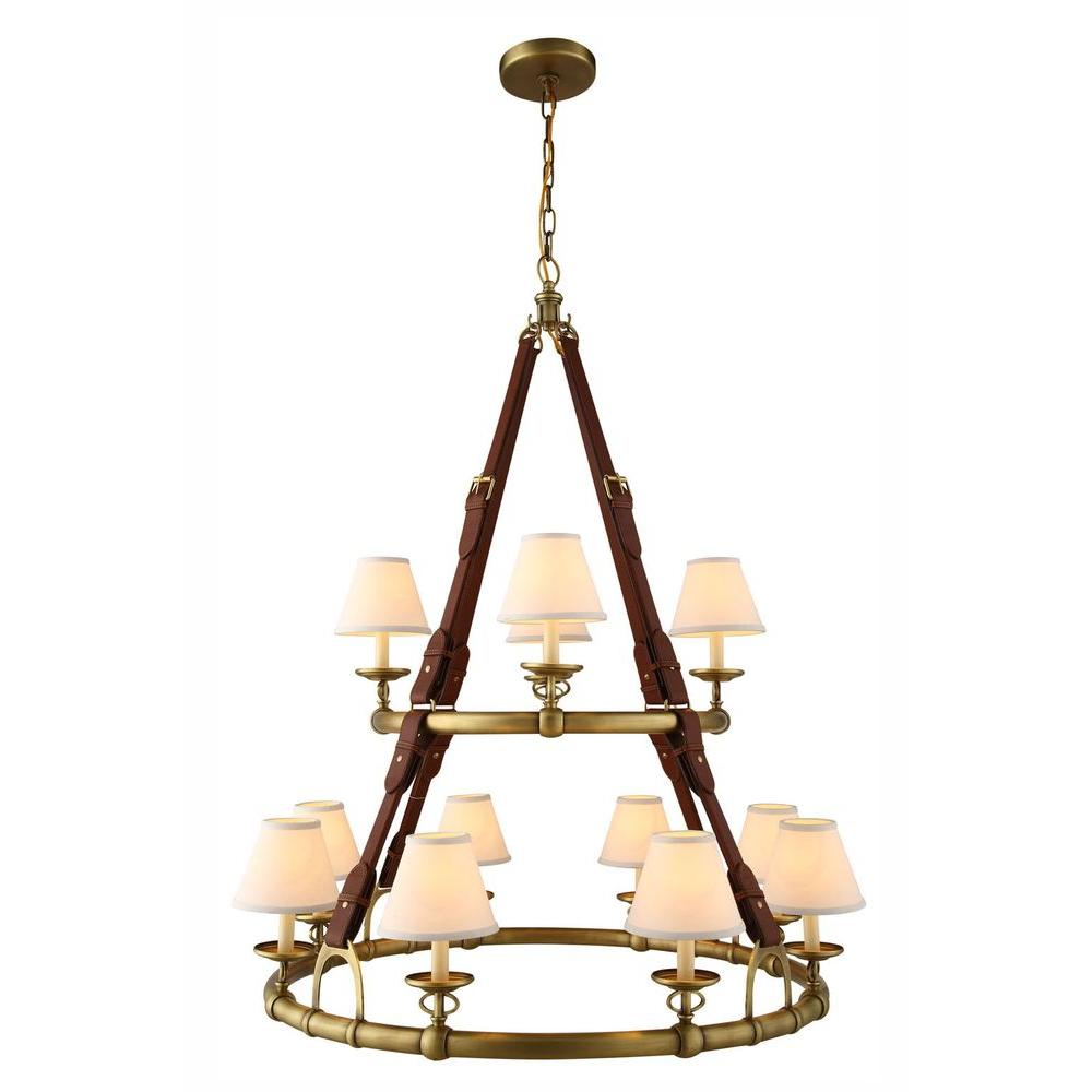 Cascade 12-Light Burnished Brass Pendant Lamp