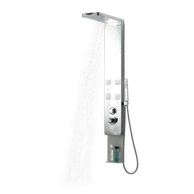4-Jet Shower Panel System in Stainless Steel with Rainfall Shower Head and Handheld Shower in Brushed Stainless