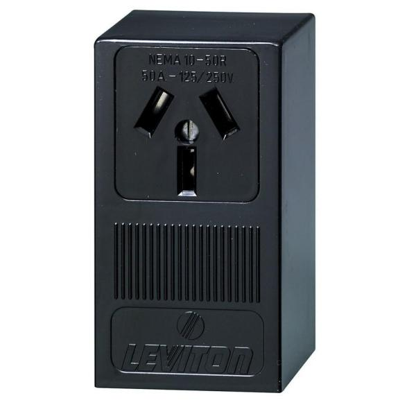 50 Amp Thermoplastic Power Single Outlet, Black