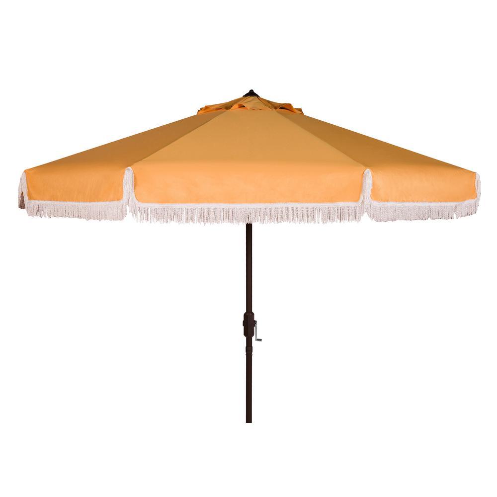 Milan 9 ft. Aluminum Market Tilt Patio Umbrella in Yellow/White Trim
