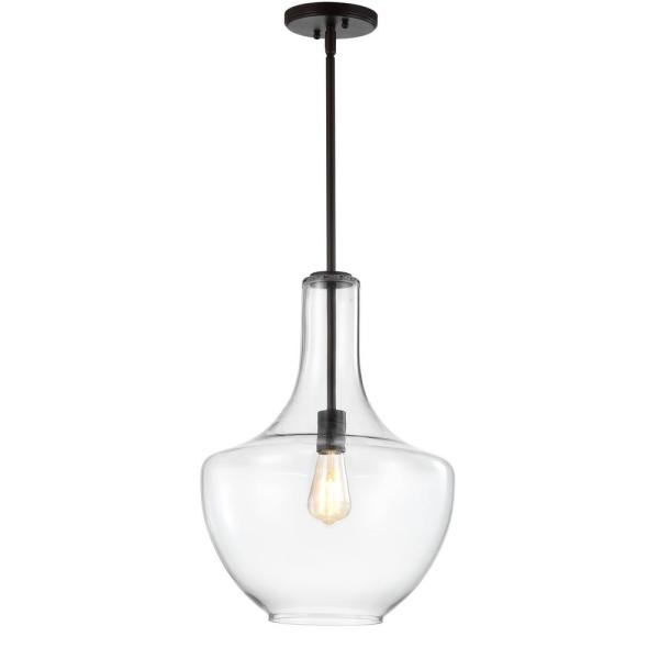Watts 13.25 in. 1-Light Oil Rubbed Bronze/Clear LED Pendant with Glass/Metal