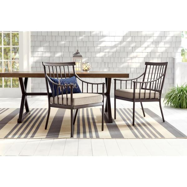Reviews For Hampton Bay Mix And Match Farmhouse Steel Outdoor Patio Dining Chair With Tan Cushion 2 Pack 3035e D2 The Home Depot