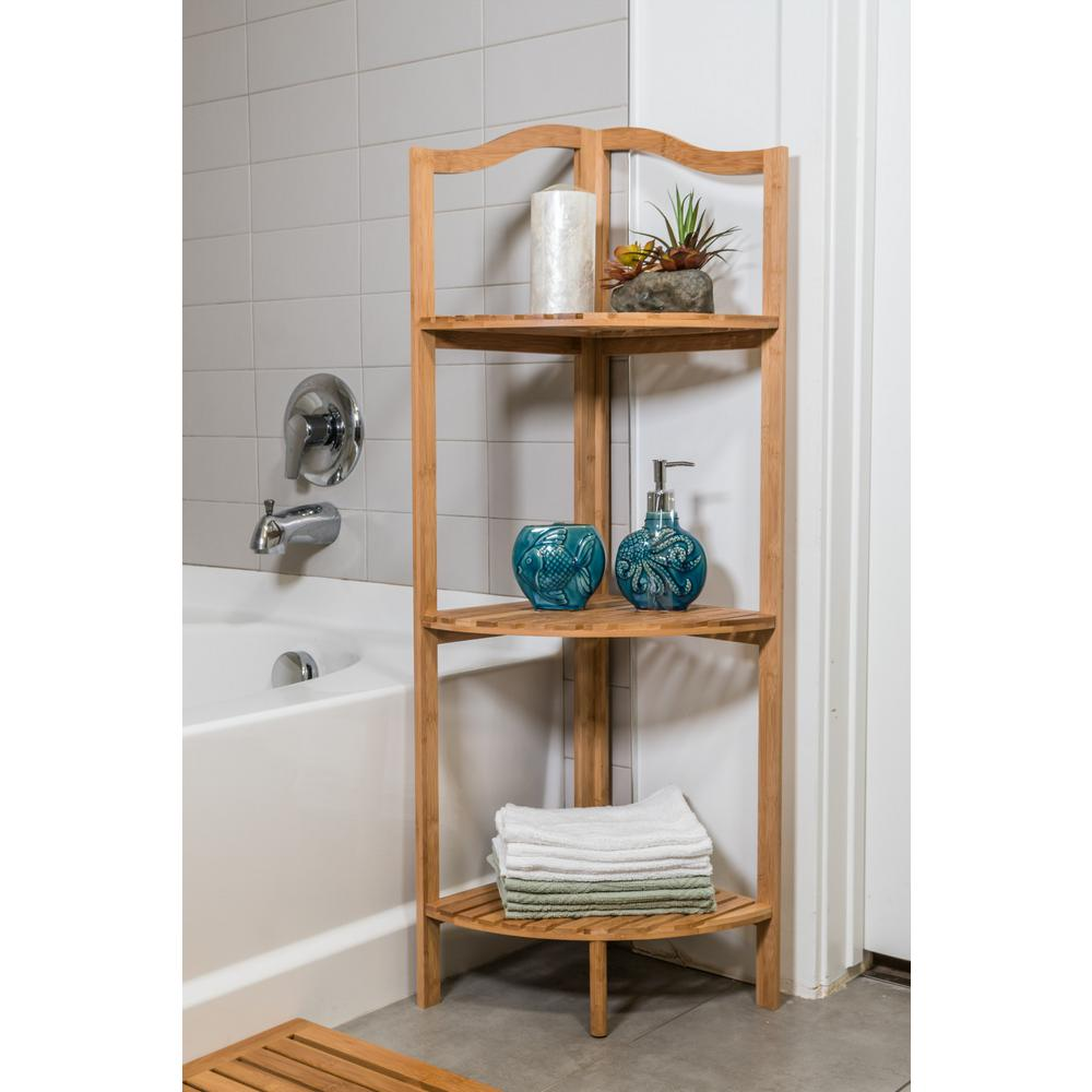Canary 43 in. 3-Tier Brown Bath Shelf Made of Bamboo-ZR43BSH - The ...