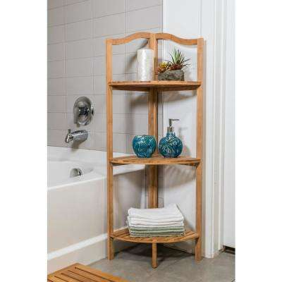 43 in. 3-Tier Brown Bath Shelf Made of Bamboo