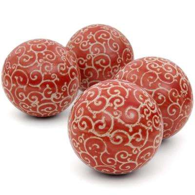 Oriental Furniture 4 in. Red and Beige Vines Porcelain Ball Set