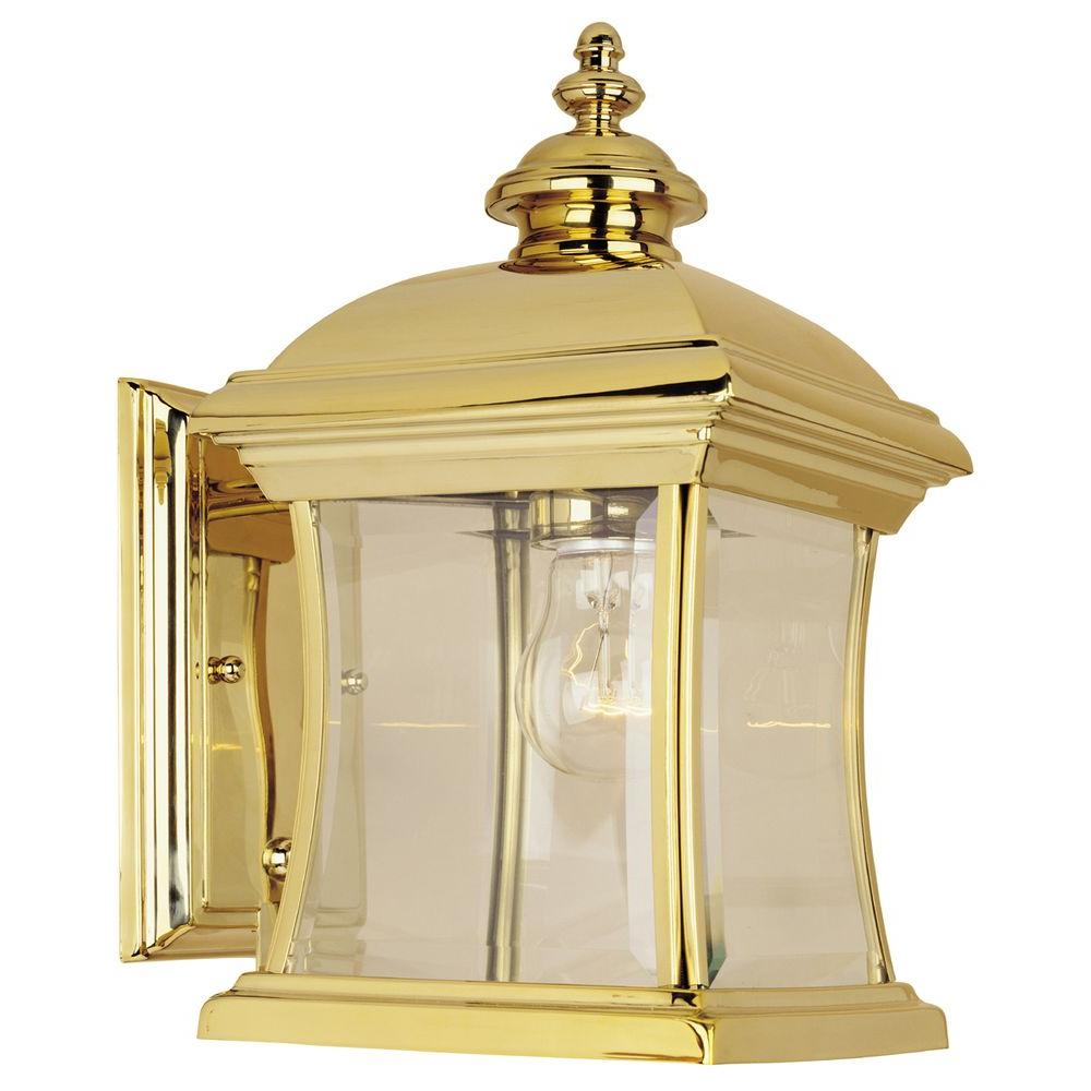 Hampton Bay Wall-Mount Outdoor Polished Brass Lantern-DISCONTINUED