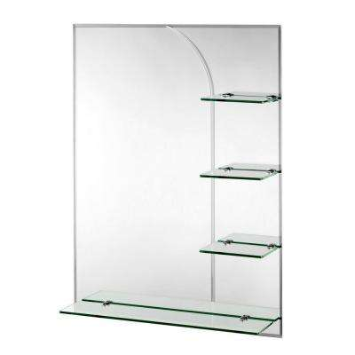 24 in. x 32 in. Bampton Beveled Edge Wall Mirror with Shelves and Hang 'N' Lock Easy Hanging System