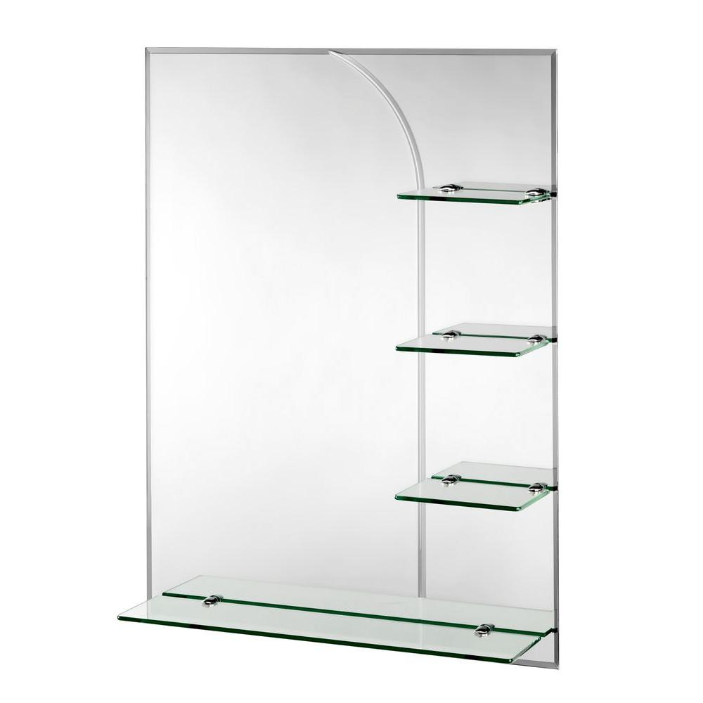 croydex 24 in x 32 in bampton beveled edge wall mirror with shelves and hang 39 n 39 lock easy