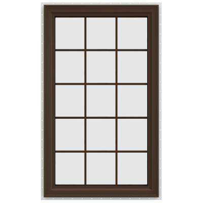 35.5 in. x 59.5 in. V-4500 Series Left-Hand Casement Vinyl Window with Grids - Brown