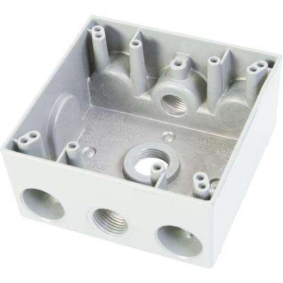 2 Gang Weatherproof Electrical Outlet Box with Three 1/2 in. Holes - White