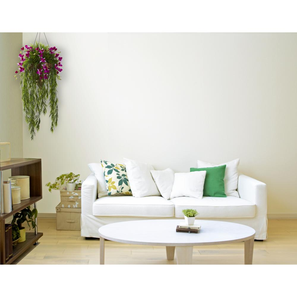 Nearly Natural Indoor Bamboo and Dendrobium Hanging Baske...