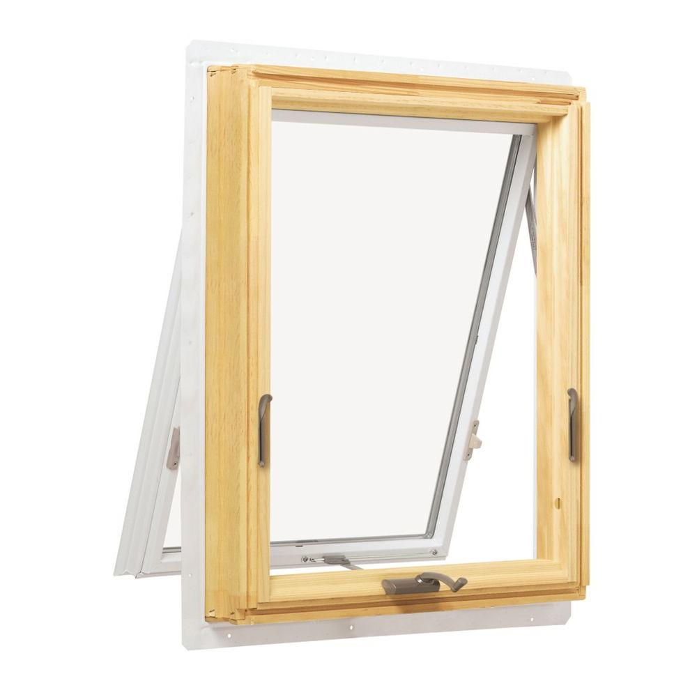 Andersen 24 125 In X 24 125 In 400 Series Awning Wood Window With White Exterior A21 V The Home Depot