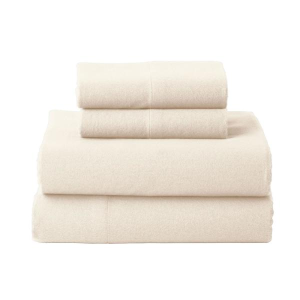 The Company Store Solid Flannel 4-Piece Cream Queen Sheet Set