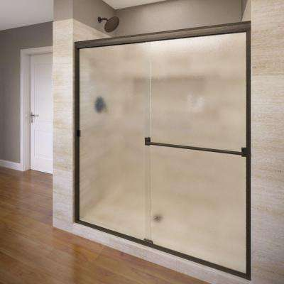 Classic 60 in. x 70 in. Semi-Frameless Sliding Shower Door in Oil Rubbed Bronze with Obscure Glass