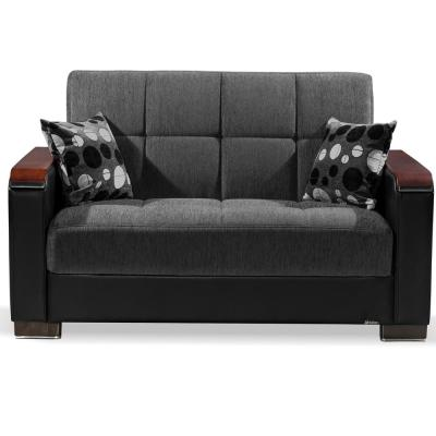 Armada 65 in. Dark Gray/Black Chenille 2-Seater Convertible Loveseat with Storage
