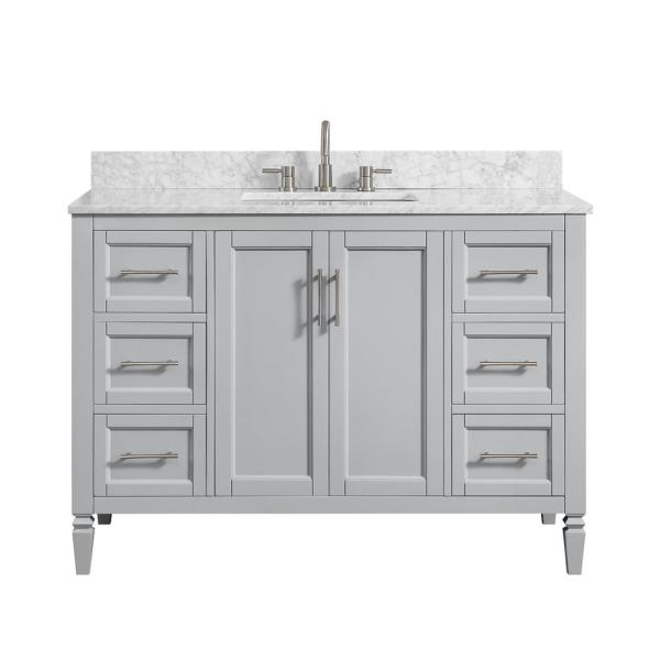 Stockham 49 in. W x 22 in. D Bath Vanity in Chilled Gray with Marble Vanity Top in Carrara White with White Basin