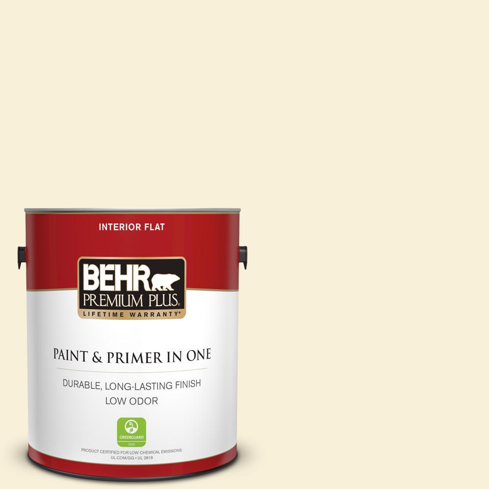 BEHR Premium Plus 1 gal. #390C-1 Capri Cream Flat Low Odor Interior Paint and Primer in One
