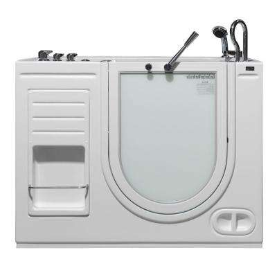 HydroLife 4.27 ft. Right Drain Walk-In Heated Air Bath Tub in White