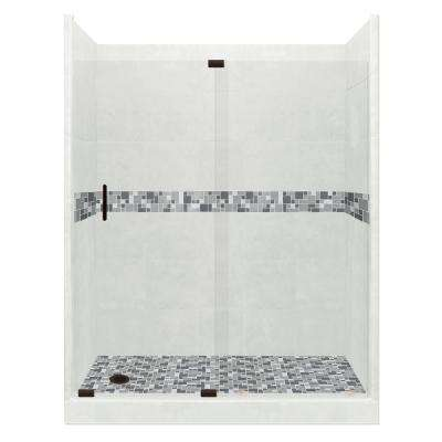Newport Grand Slider 32 in. x 60 in. x 80 in. Left Drain Alcove Shower Kit in Natural Buff and Black Pipe Hardware