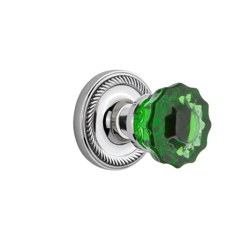 Rope Rosette 2-3/8 in. Backset Bright Chrome Privacy Crystal Emerald Glass Door Knob