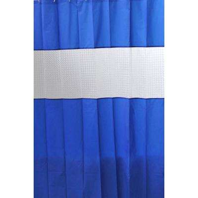 Laser 71 in. x 79 in. Peva Navy Blue Solid Colors Bath Shower Curtain