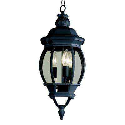 3-Light Outdoor Hanging Black Lantern with Clear Glass