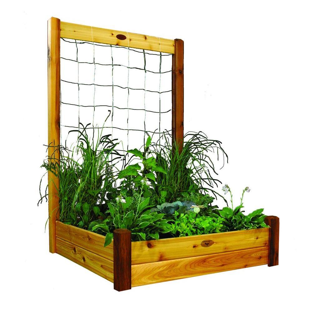 48 in. x 48 in. x 13 in. Raised Garden Bed with 48 in. W x 80 in. H Safe Finish Trellis Kit