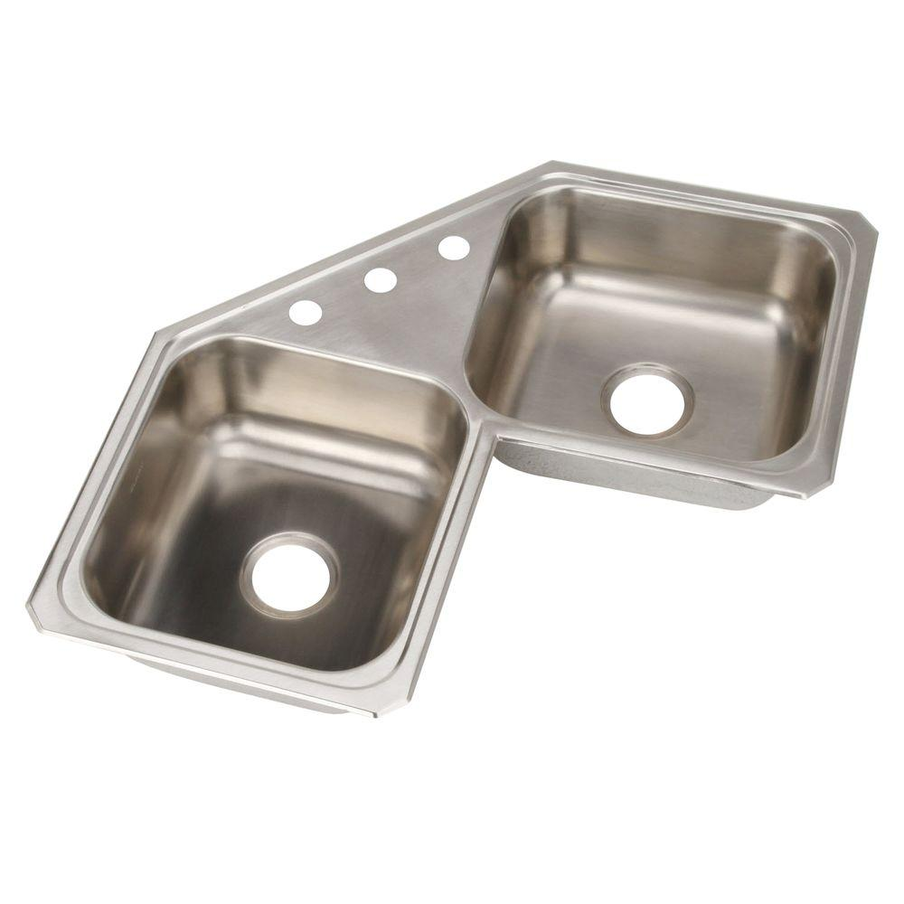 Elkay Celebrity Corner Mount Stainless Steel 32 in  3 Hole Double Bowl  Kitchen Sink. Elkay Celebrity Corner Mount Stainless Steel 32 in  3 Hole Double
