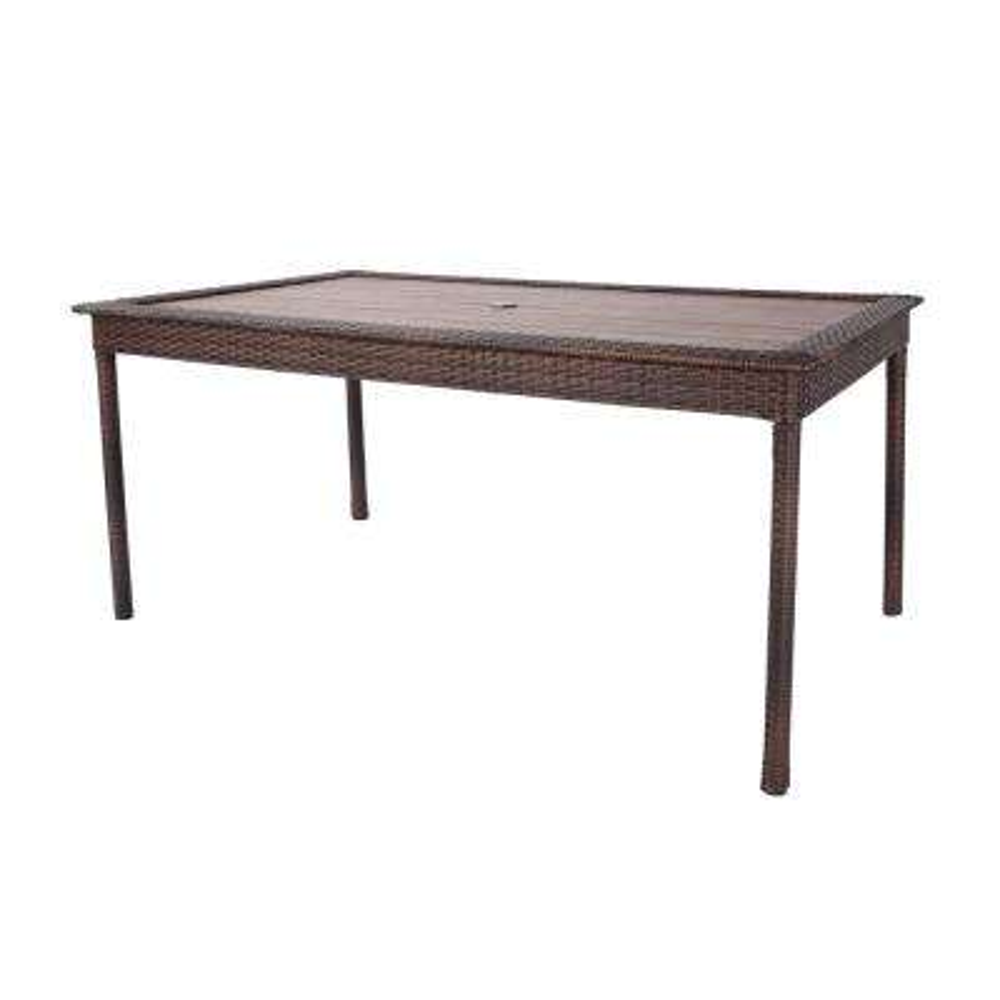 Cambridge Brown Rectangular Resin Wicker Outdoor Dining Table