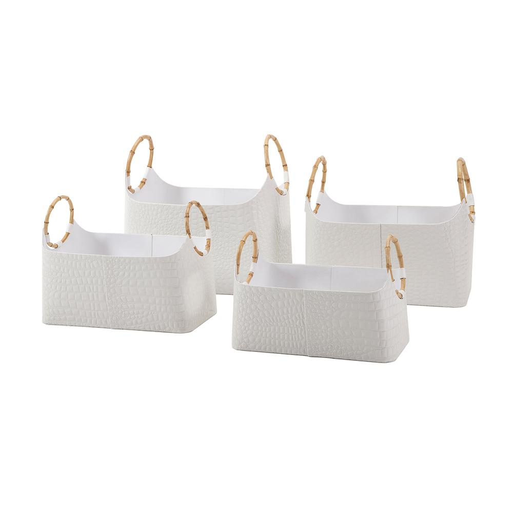 IMAX White Magazine Basket (Set of 4) There's nothing quite like just reaching to your side and finding a newspaper, magazine, or novel ready and waiting, and this beautiful set makes that possible. Each magazine basket is crafted from faux leather-wrapped cardboard with croc-embossed sides and bamboo handles. A full quartet of baskets is included, each with its own unique size. Color: White.