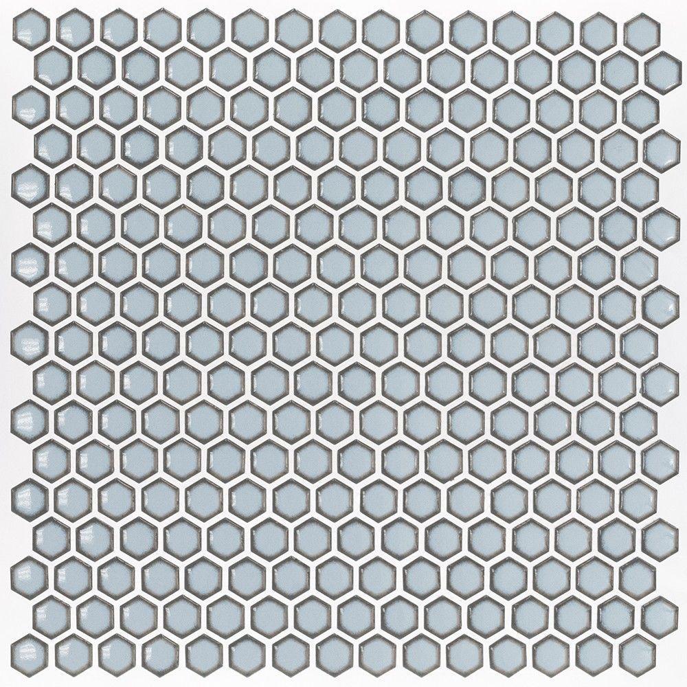 Splashback Tile Bliss Edged Hexagon Polished Gray 12 In X 12 In X