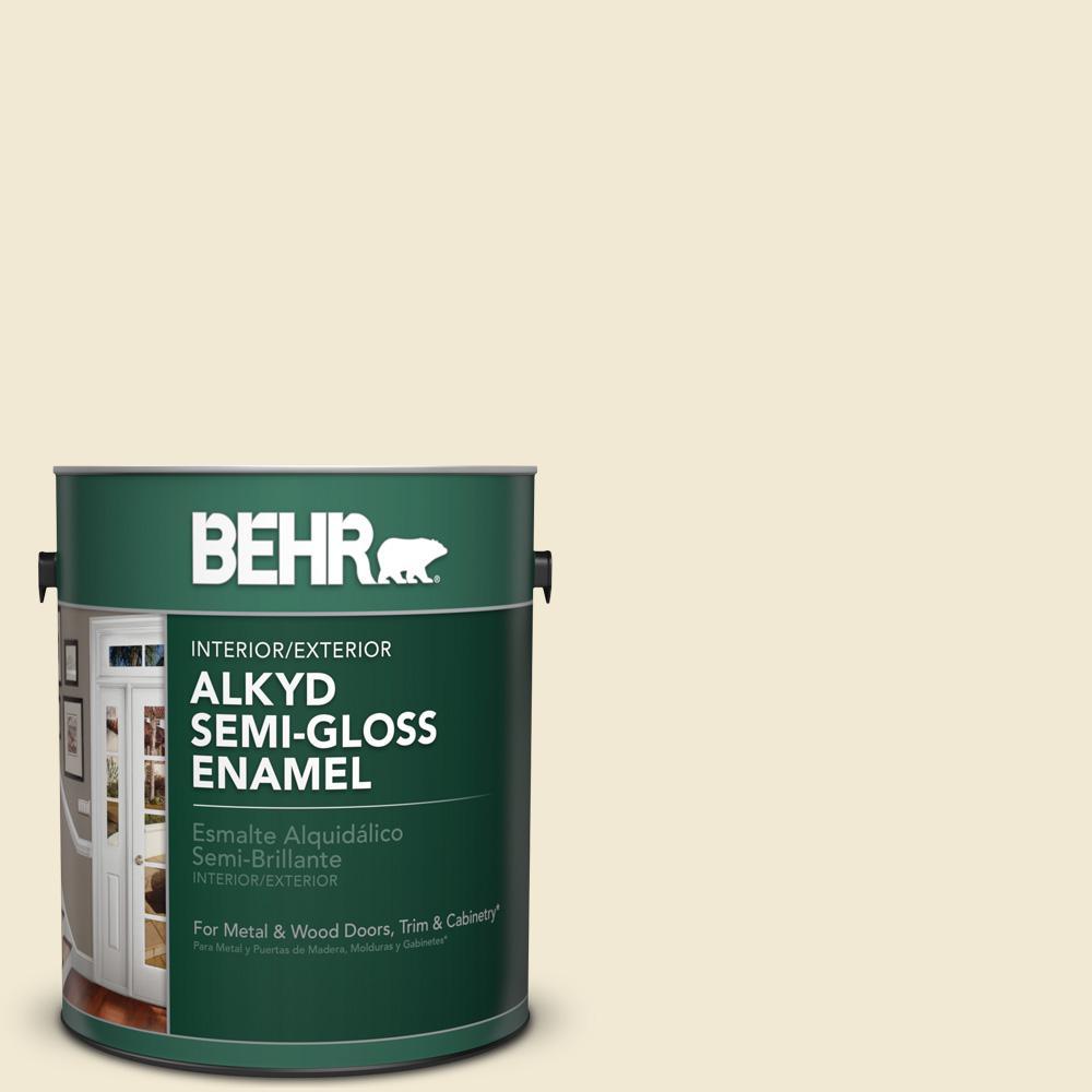1 gal. #PWN-32 Bleached Almond Semi-Gloss Enamel Alkyd Interior/Exterior Paint
