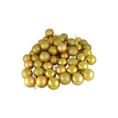 Vegas Gold Shatterproof 4-Finish Christmas Ball Ornaments (60-Count)