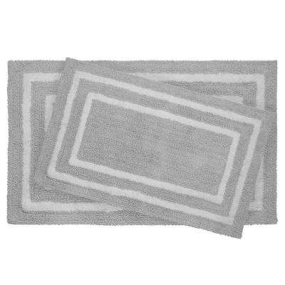 Reversible Cotton Soft Double Border Gray 2-Piece Bath Mat Set