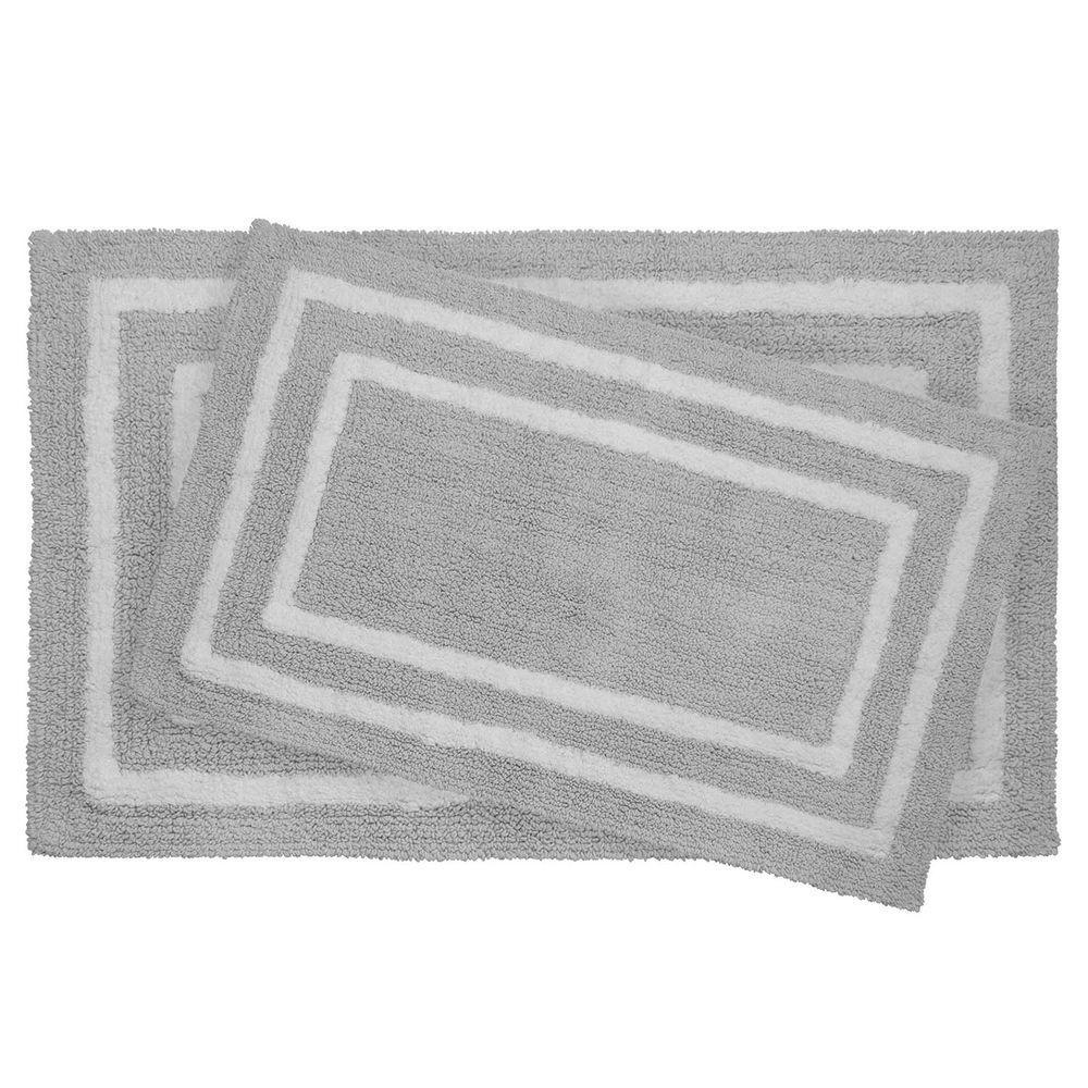 Jean Pierre Reversible Cotton Soft Double Border Gray 2-Piece Bath Mat Set
