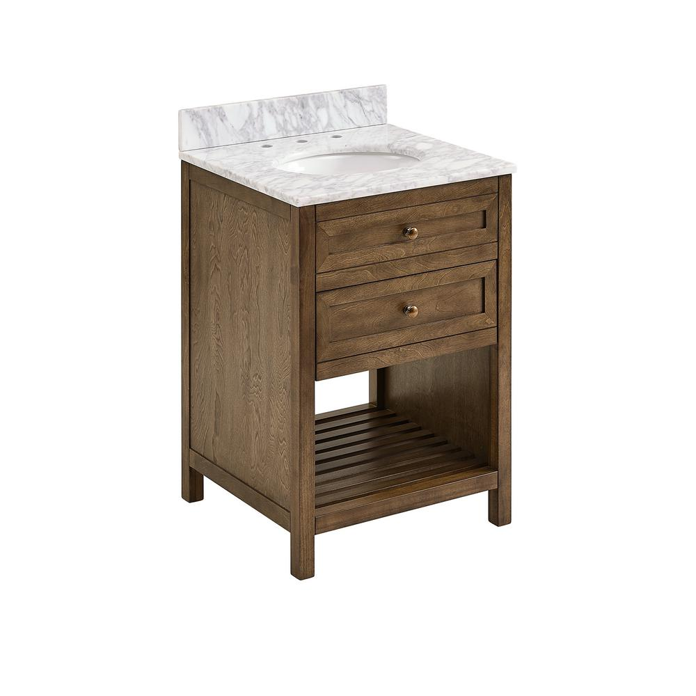 Southern Enterprises 24 in. W x 22 in. D Bath Vanity in Weathered Brown with Carrara Marble Vanity Top in White/Gray with White Basin