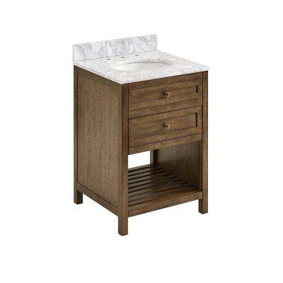 Henlyville 24 in. W x 22 in D Bath Vanity in Weathered Brown with Carrara Marble Vanity Top in White/Gray w White Basin