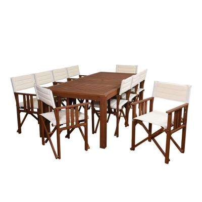 Rio 11-Piece Eucalyptus Rectangular Patio Dining Set with Off White Canvas