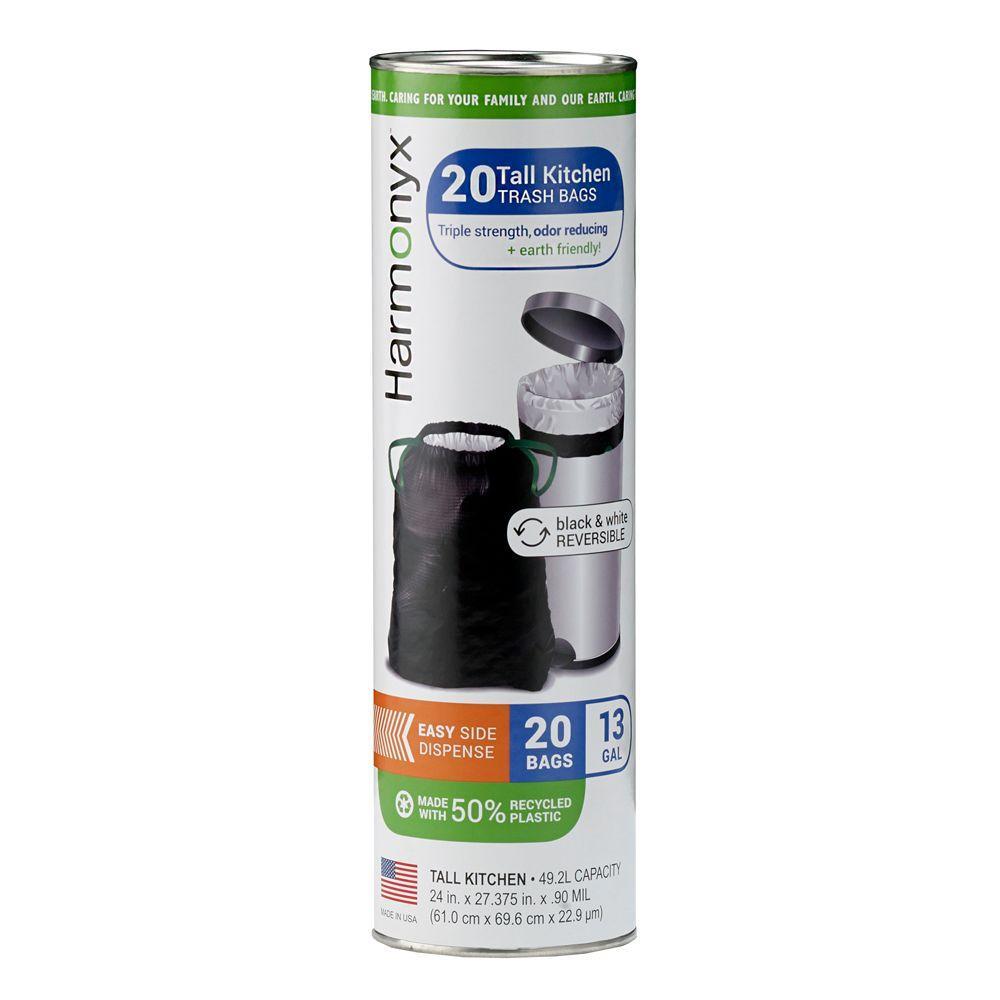 Harmonyx 13 Gal. Tall Kitchen Antimicrobial Odor Control Drawstring Trash Bags (20 Count)